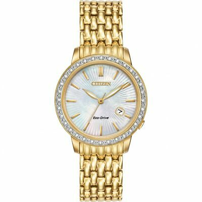 Citizen Ladies Eco-Drive Silhouette 32 Diamond Gold Watch - Ew2282-52D