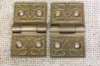 "2 old Hinges decorated door 1880 vintage interior shutter 1 1/4 x 2 1/8"" brass"
