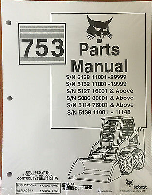 Bobcat 753 753H Skid Steer loader PARTS manual bobcat 753h 753 h service manual book skid steer loader 6900090