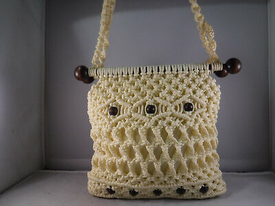PFR VTG HANDMADE Cream Woven Yarn Crochet Wood Beaded Hippie Boho Tote Bag Purse