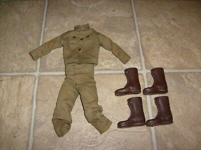 VINTAGE 1960's GI JOE BROWN TALL BOOTS 2 BOOT FIGURE LOT LOOSE & ARMY UNIFORM