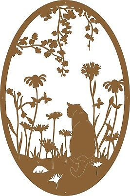 Kitty Cat in Garden ~ Americana Themed Metal Art