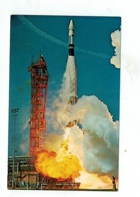 Standard Size NASA Chrome Post Card ATLAS AGENA Lift-Off March 16 1966