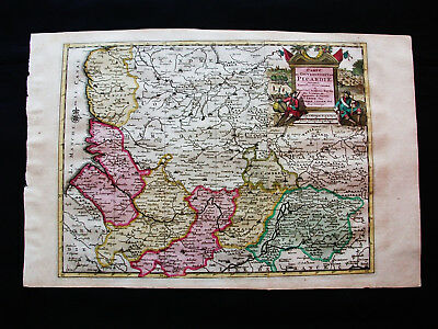"1713 P. VANDER AA - ""amazing map"" of FRANCE, PICARDY, AMIENS, AISNE, OISE, LAON"