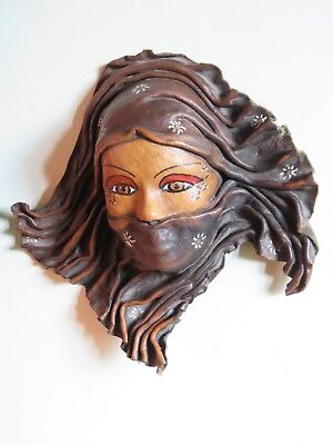 2006 signed leather wall mask wall hanging