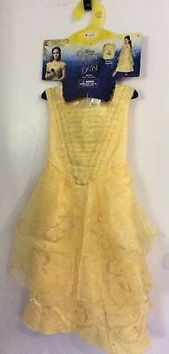Belle Ball Gown Deluxe Costume Dress Child Disney Princess W/ Necklace Size 4-6