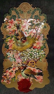 Antique VINTAGE Die Cut Fold Out BIRDS Floral VALENTINE'S DAY Card GEMANY Used