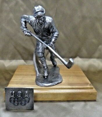 1989 MIRACLE ON ICE Michael Ricker TEAM USA Pewter Hockey Statue Signed #127