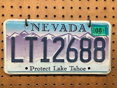 License Plate, Nevada, Protect Lake Tahoe Auto Tag Purple Blue 2008 Mountains
