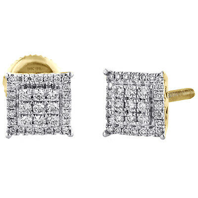14K Yellow Gold Round Diamond 6.75mm Square Studs w/ Halo Earrings 0.25 CT.