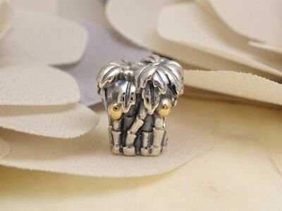 NEW Authentic PANDORA Silver 14k Gold PALM TREE Beach Charm 790521 RETIRED