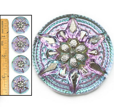 22mm Vintage Czech Glass SHINING Blue Purple Silver AB STAR Burst 3D Buttons 4pc