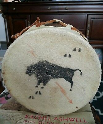 """Native American Indian Vintage Small Hand Drum.Real Hyde leather 5&1/4"""" x 6 1/4"""""""