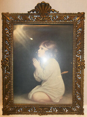 Antique Victorian Large Ornate Brass Picture Frame With Convex Glass
