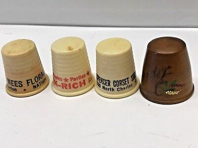 VTG LOT 4 Sewing Thimble Chicago Corset Shop advertising Eck-Rich Floral Wood