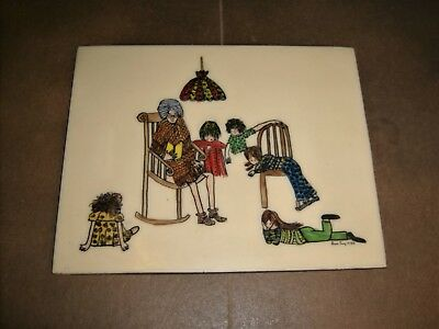 Etched Acrylic AVIS JOY Signed 1973 Grandma Kids Grandmother Grandchildren Art
