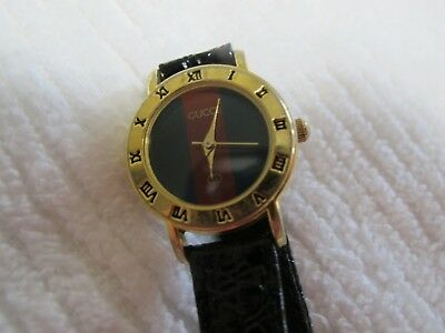 490c1afe4 VINTAGE GUCCI WATCH Red Green Gold Tone Face Leather Band - $39.95 ...