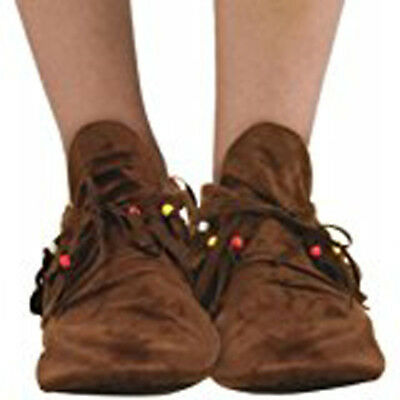 Brown Moccasins Hippie Native American Indian Adult Womens Costume Shoes
