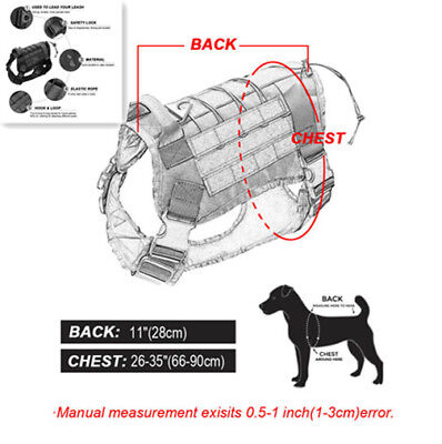 Police K9 Tactical Training Dog Harness Military Adjustable Molle Nylon Vest PET