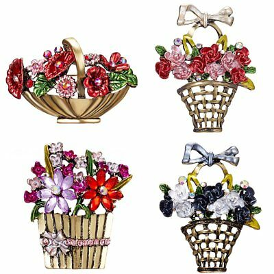 Wedding Vintage Crystal Bouquet Brooch Pin Butterfly Flower Breastpin Costume