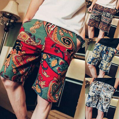 Mens Baggy Casual Retro Shorts Printed Beach Swimming Surf Board Pants Trousers