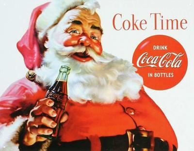 "Coca Cola Coke Santa Claus Christmas Vintage Retro Tin Metal Sign 16""Wx12.5""H"
