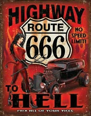 Highway Route 666 Vintage Retro Tin Metal Sign 13 x 16in