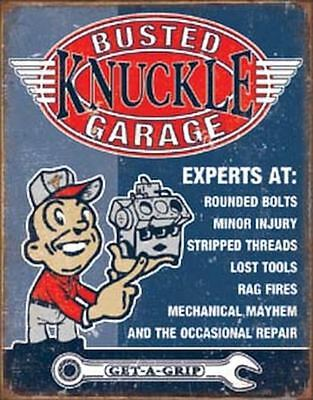 Busted Knuckle Garage Vintage Retro Tin Metal Sign 13 x 16in