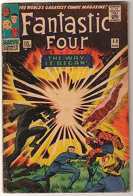 Marvel Comics VG- FANTASTIC FOUR #53 Origin black panther  Silver surfer