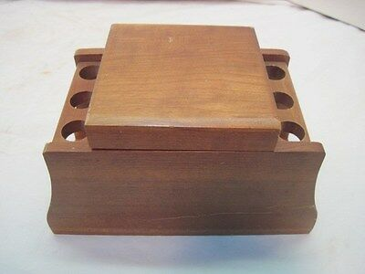 Old Wood Wooden Vintage 6 Pipe Humidor Table Stand Nice