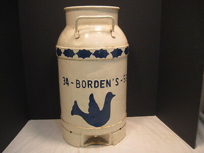 Old Vintage 5 Gallon Borden's Stainless Steel Milk Can Cream Can Advertising