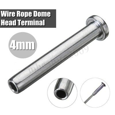 3mm/4mm 316 Stainless Steel Wire Rope Dome Head Terminal Swage End FREE P+P