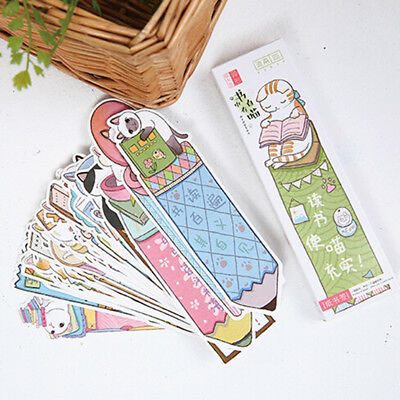 30Pcs/Set Unique Cat Head Paper Bookmark Book Marks Marker Label Stationery B