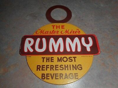 Vintage Rummy Mixer Grapefruit/lemon Drink Cardboard Bottle Topper Sign