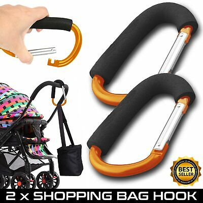 Buggy Clips x2 Coloured Large Pram Pushchair Shopping Bag Hook Carry U Clip