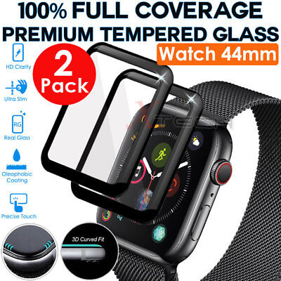 2x FULL COVER 3D TEMPERED GLASS Screen Protectors for Apple Watch 44mm Series 4