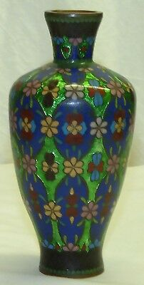 "Antique Chinese 6"" Floral Green Foil Cloisonne Vase Asian Japanese Ginbari"