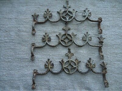 "Three Antique French ""Cast Iron Cemetery Fence, Salvage Pieces"""