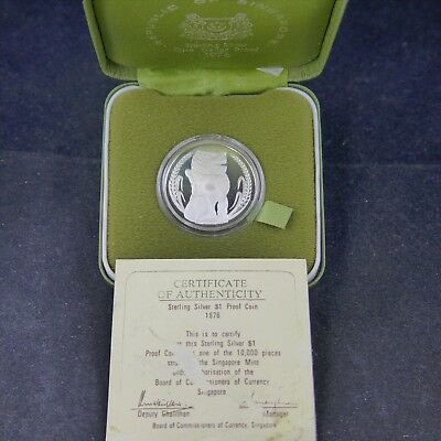 Singapore 1976 Silver Proof Dollar With Box And Coa.