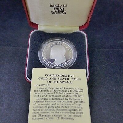 1976 Botswana 5 Pula Proof Silver Coin Sir Seretse Khama 10th Ann Independence.