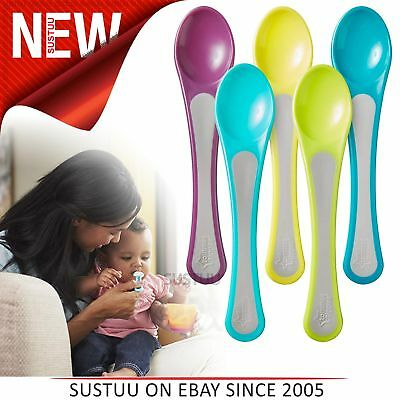 Tommee Tippee Explora Easy Grip Feeding Spoons 5Pk│Assorted Colours│BPA Free│7m+