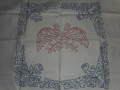 """2 VINTAGE TURKEY RED HAND EMBROIDERED LAY OVER PILLOW COVER 35"""" x 28"""", BIRD SHAM"""