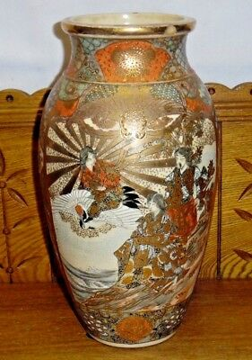 Antique Japanese Shimazu Satsuma T.J. Pottery Vase - 12 1/4""
