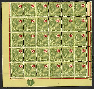 Antigua Sg60 1922 5/= Green & Red On Pale Yellow Plate Blk Of 30 Mnh
