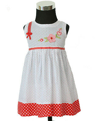 New Baby Girls white and Red Dotted Cotton Party Dress in 0-3,3-6,6-9 Months