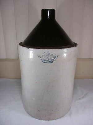 Antique Blue Crown 4 Gallon Stoneware Jug Crock Moonshine Whiskey w/ Brown Top