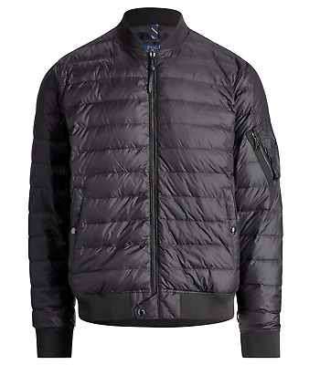 Polo Ralph Lauren Quilted Down Bomber Jacket Packable Black Bomber Puffer Coat