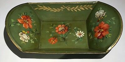 Antique 19th century Painted Floral Tole Bread Tray Basket