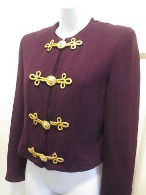 ST. JOHN  Marie Gray PLUM Gold LION CLOSURES Santana Knit  BLAZER Jacket 6 Small