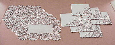 Vintage Tan Madeira Embroidery Linen Placemats Napkins Lot